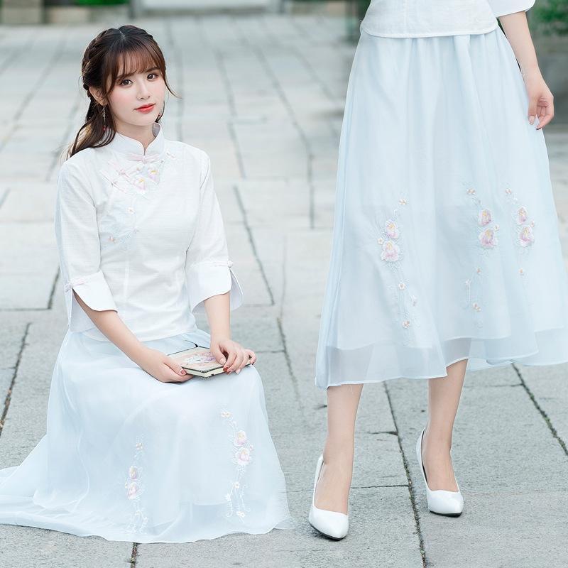 cintura h5nIK Elastic branco novo de três camadas saia moderno das mulheres simples bordado X5406 Curto anti-penetração saia WHvvP