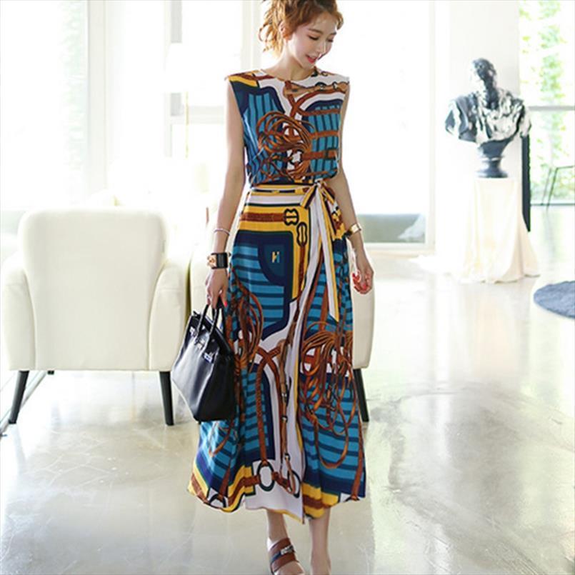 2020 Frühjahr neue koreanische Mode-Stil Hemd Taillen-Frauen O Ansatz Oberseiten-elastische Taillen-Röcke Zweiteilige Sets Ärmel Drucke