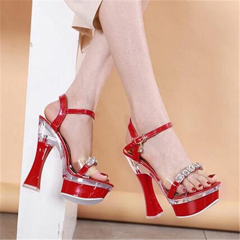Nuovo cristallo estate delle donne Sandals Open Toe Pumps 14/17 centimetri scarpe tacco quadrato Scarpe Plus Size 34 43 Nightclub Lady Nero 77zu # partito