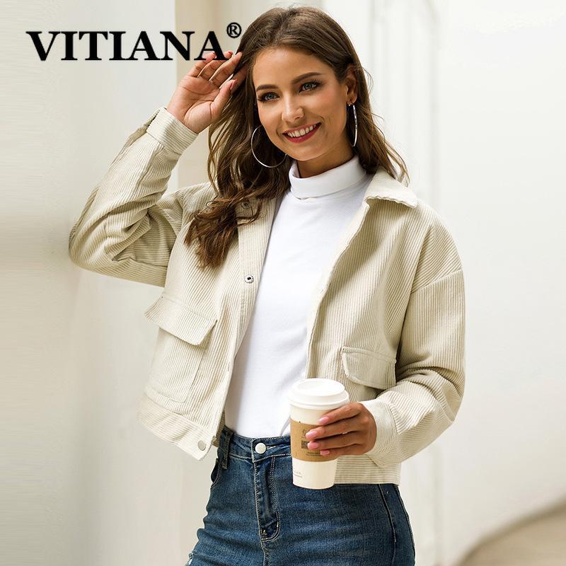 Chaqueta de pana corto VITIANA Mujeres Otoño 2019 Mujer de manga larga botones Bolsillos elegante capa de las mujeres chaquetas y abrigos CX200811 corto