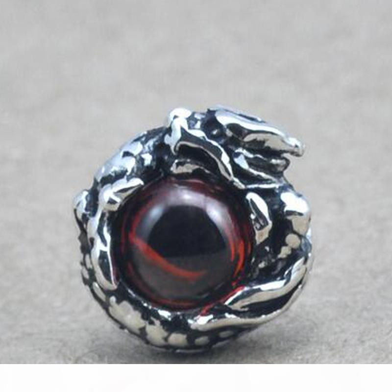 Ohrringe für Augen Garnet Drachen Männer Bolzenohrring der neuen Art und Weise siamesischen Silber Mann männlich Granat Rubin Stonejewelry