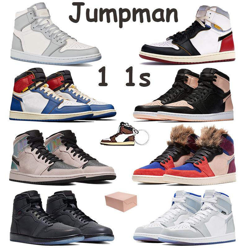 Jumpman 1 1s basketball shoes white wolf grey sail chicago black blue toe zoom white racer blue crimson tint mens sneakers with box