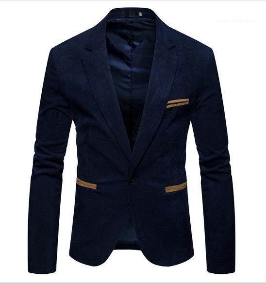 Botón chaqueta del solo Sólido Color de la camisa ocasional de la chaqueta de cuello en V manga larga de los hombres Ropa de Hombre pana diseñador