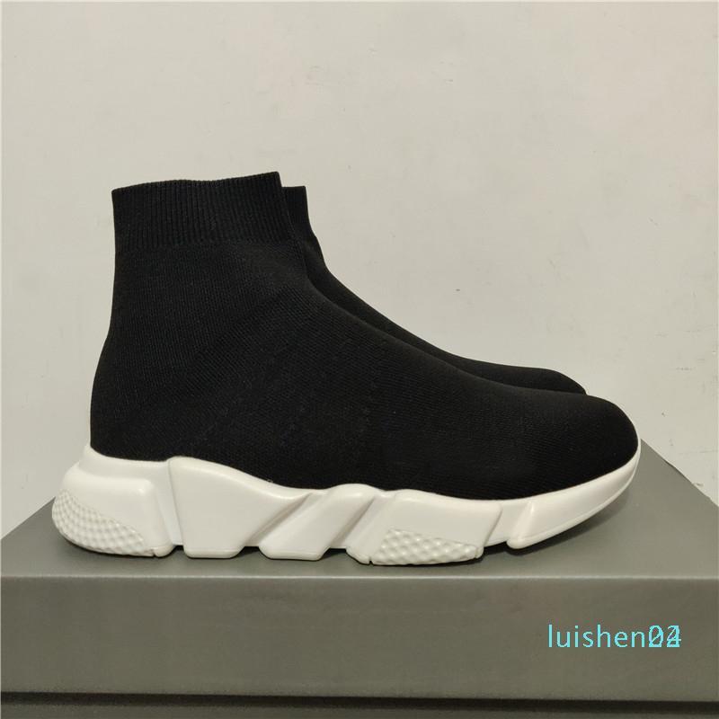 2020 El nuevo diseñador de zapatillas de deporte entrenador velocidad Negro Rojo Gypsophila Triple Negro planos del calcetín Botas Zapatos Casual Speed Trainer Runner L24