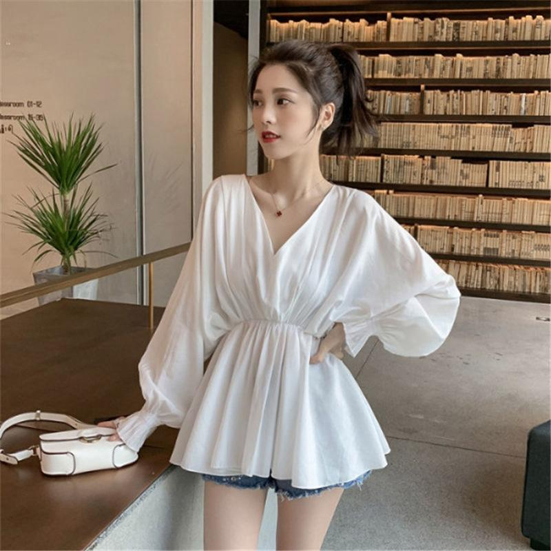 DfrL0 2020 yeni düz renk V yaka bel zayıflama kollu gömlek Kadın Üst Fener forması Fener niş tasarımı şık Kore tarzı üst