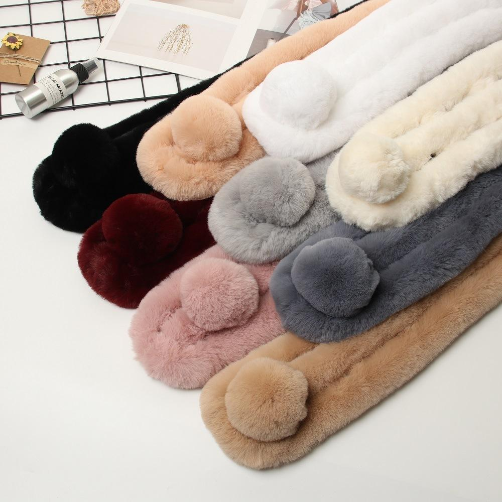 Korean style new autumn and winter imitation rabbit fur scarf women's three-tube cross rabbit fur ball scarf solid color soft fur scarf