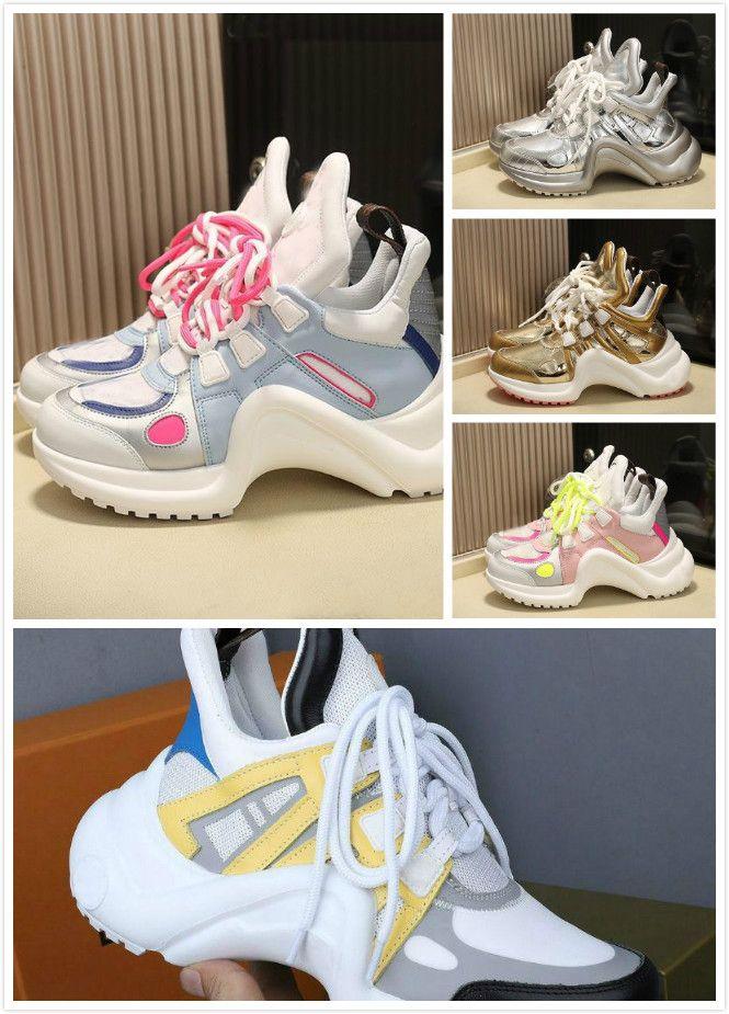 2020 nuovo modo pattini casuali Bianco Blu Colore blocco Archlight Vera Pelle scarpa da tennis maglia nera traspirante Bow scarpe Stylist scarpa piattaforma