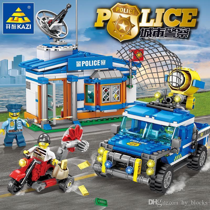Полиция города Робот самолетов Модель автомобиля Строительные блоки Set Creator Ассамблея Цифры Кирпичи Обучающие Truck DIY игрушки для детей игрушки 01