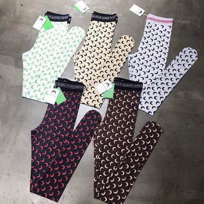 20SS Loog luva Marinha Serre assentamento T Shirt Mulheres Alta Qualidade sobreposição Metade Leggings lua Yoga calças t-shirt Top Tees menina apertada