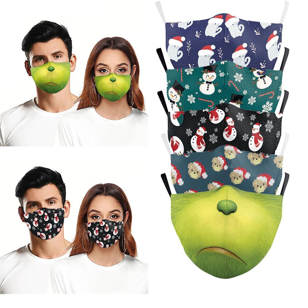 Fashion Christmas Masken Deer Printed Weihnachten Gesichtsmasken Antistaub-Schneeflocke-Weihnachtsmundschutz Waschbar Wiederverwendbare mit Masken Filter NEU