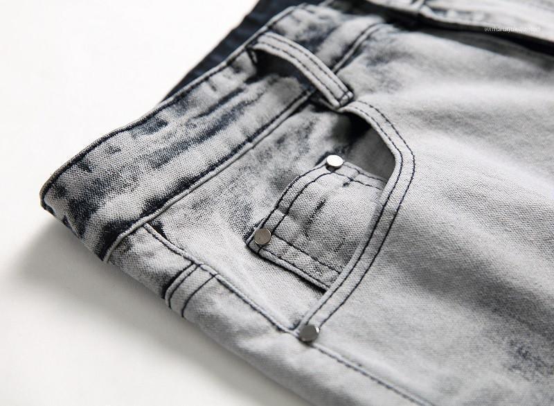 Kot Düzenli Orta Bel Düz Erkek Pantolon Moda Erkek Giyim Distrressed Mavi Beyaz Delikler Stretch Mens Uzun
