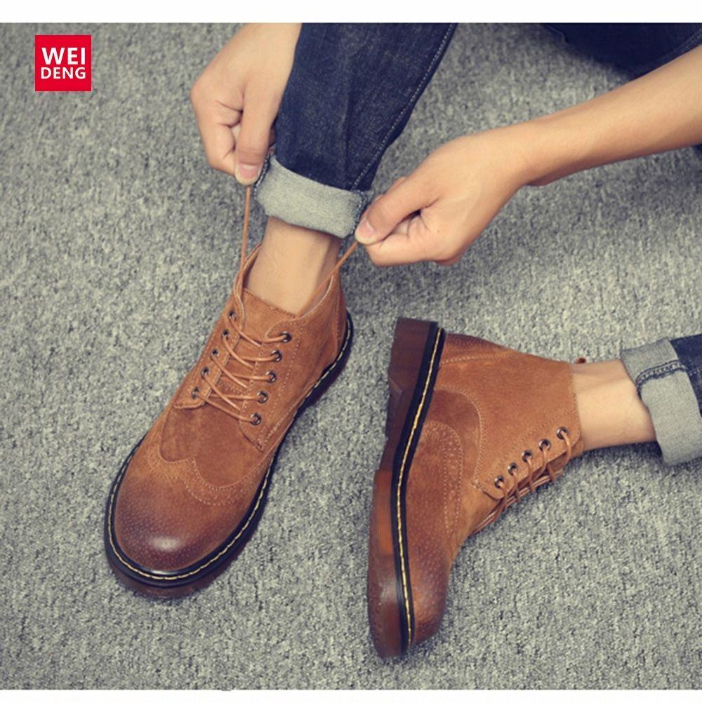 Weideng Classic Brogue cuoio genuino scarpe avvio casual invernali stringati lavoro scarpe antiscivolo Tacchi Hoof Formato più Y200723