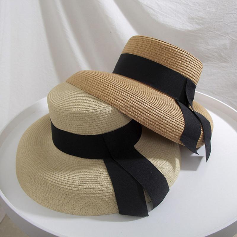2020 Летние Складные Соломенные Шляпы Большие солнцезащитные шляпы для женщин УФ-защиты ленты Hat