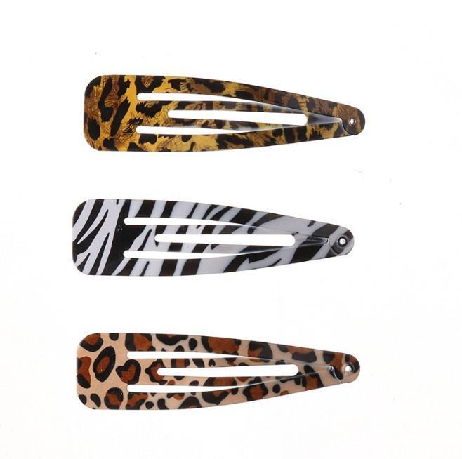 Leopard Bobby Haarnadeln für Mädchen / Damen-Metallhaarspange Klemmen HaarBarrette Werkzeuge Side Clips 3 Styles