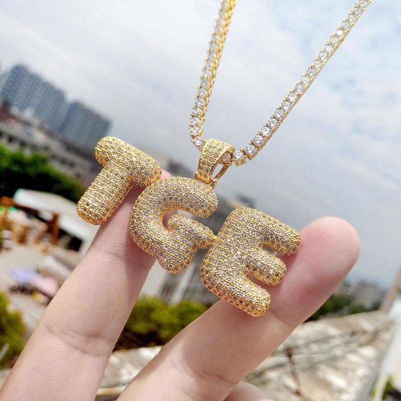 A-Z Пользовательские Имя Bubble Letters ожерелья Мужская мода хип-хоп ювелирных изделий Iced Out Золото Серебро Исходное письмо ожерелье