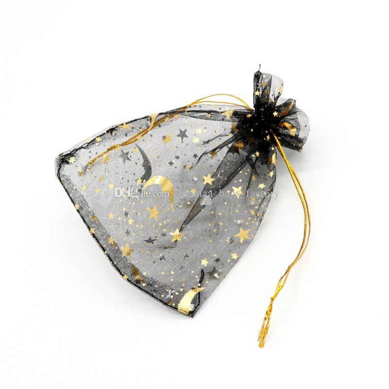 100 Pçs / Lote Black Moon Star Organza Favor Sacos de cordão 4sizes malotas de embalagens de jóias de casamento, bom presente de sacos fábrica