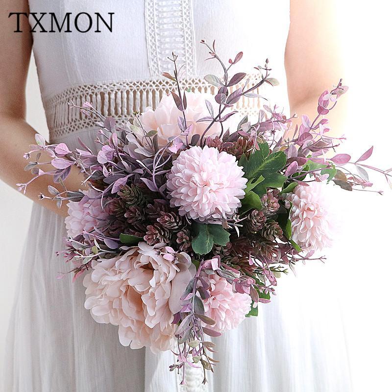Розовый фуксия волшебница гортензия пион цветок букет моделирования поддельный шелк пластик эмаль серое стекло ваза украшение цветочный