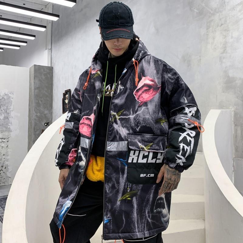 Camouflage Graffiti Printed Mittellanges Kapuzenjacke Herren Winter europäische und amerikanische Popular Allover Printed lose Jacke
