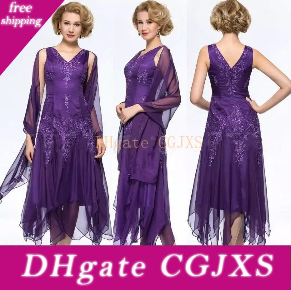 Madre púrpura elegante de la longitud de los vestidos de novia de cuello en V de cristal apliques Madre S Vestido de tarde de los vestidos de noche formales