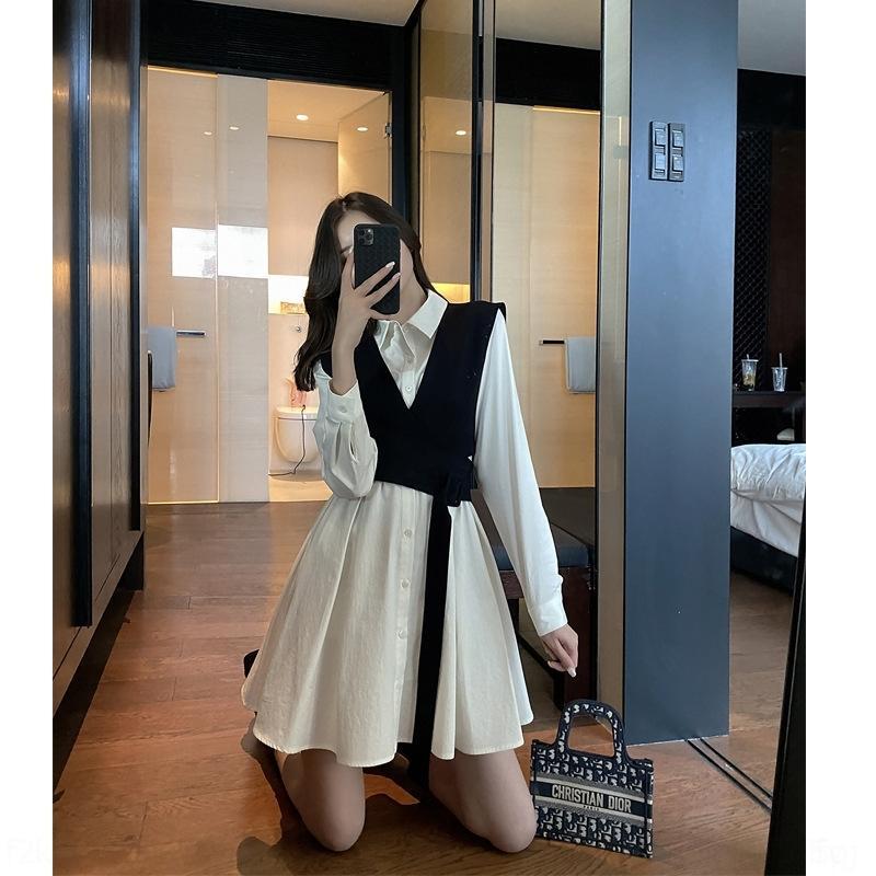Kadınların 2020 yeni moda siyah için ihG5f mBPw0 Küçük takım elbise yelek iki parçalı set Hepburn elbise gömlek Sonbahar yelek
