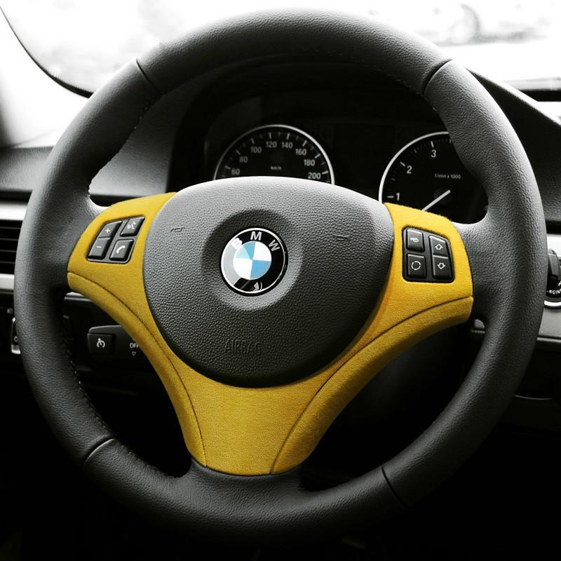 Decoration intérieure de la voiture Alcantara enveloppe Couvre-volant Couvercle ABS Stickers Cylisme de voiture pour BMW E90 E92 E93 2009-2012 Accessoires