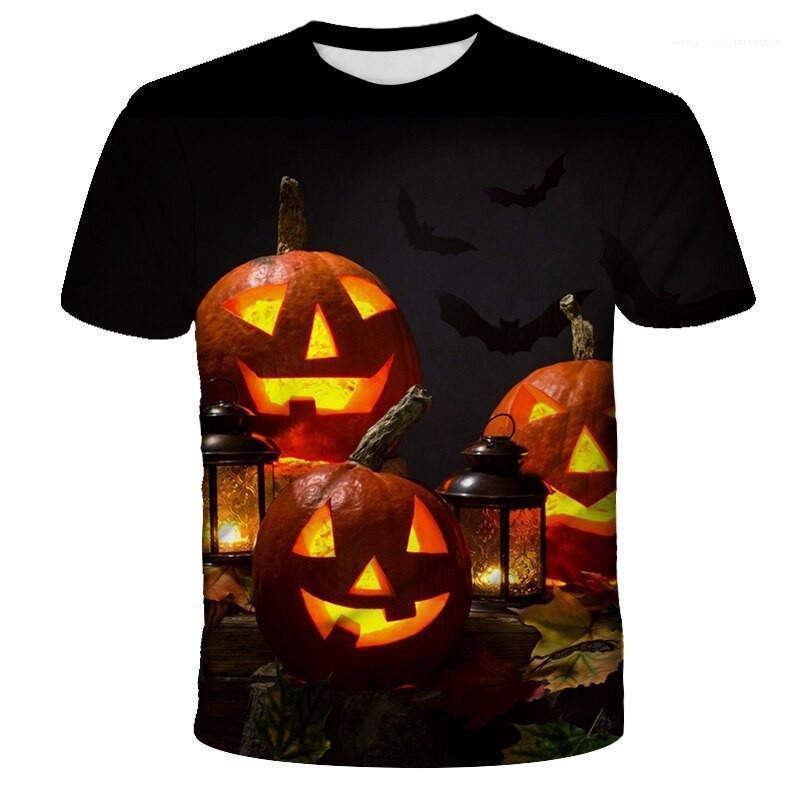 Couleur tee-shirts ras du cou Casual court sleeveT Chemises hommes Designer T-shirts de mode Halloween Cartoon Motif naturel