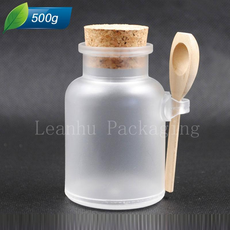 500 g x 12 boş banyo tuzu kaşık plastik kap, yuvarlak ABS plastik teneke kap 500ml toz şişe