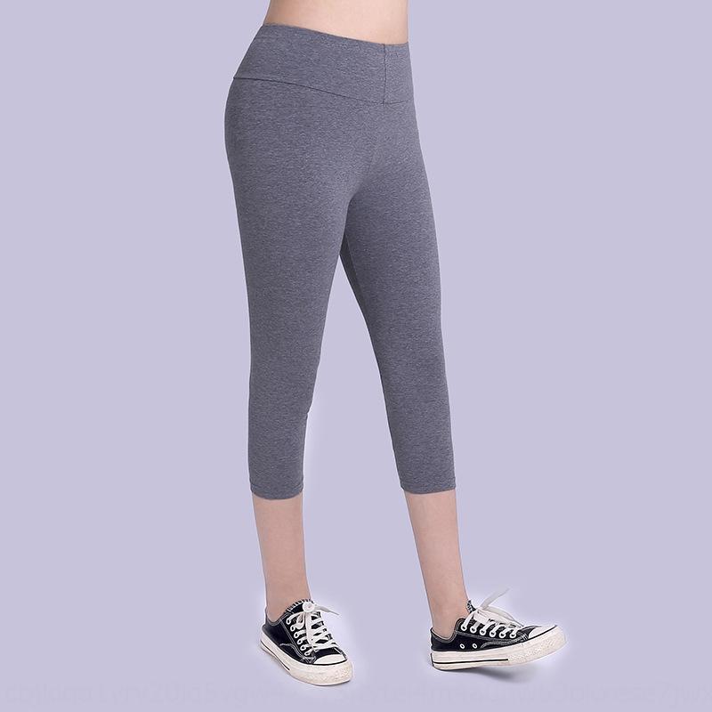 yüksek pantolon ince nefes rahat pantolon karın bPFww 2020 elastan pamuk Capri ekstra yağ yaz gündelik bel