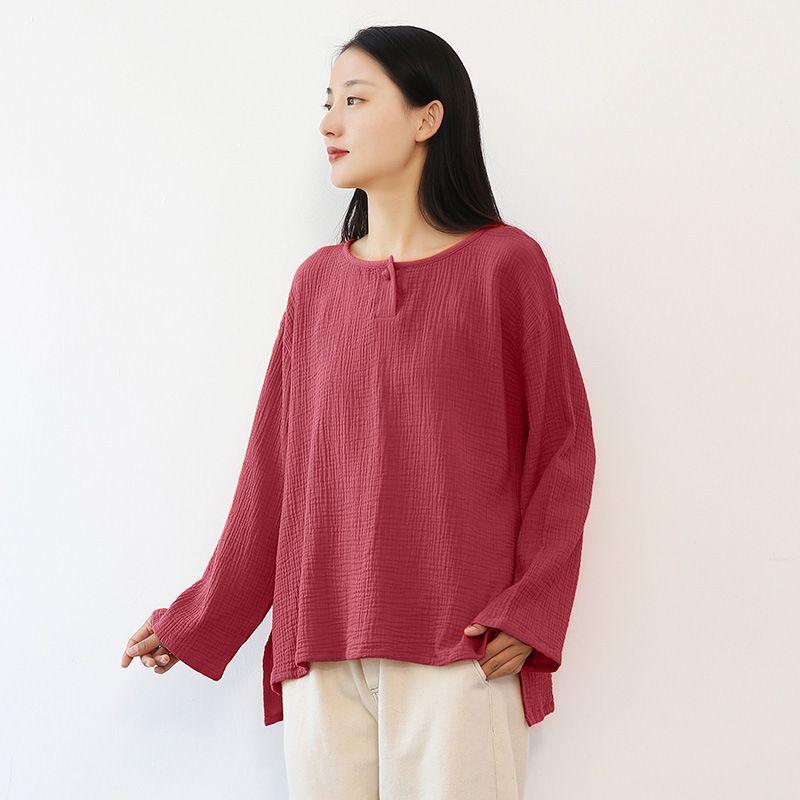 T-shirt das mulheres Johnature Women Vintage camisetas Manga comprida 2021 Outono O-pescoço de cor sólida panos casuais duplos algodão