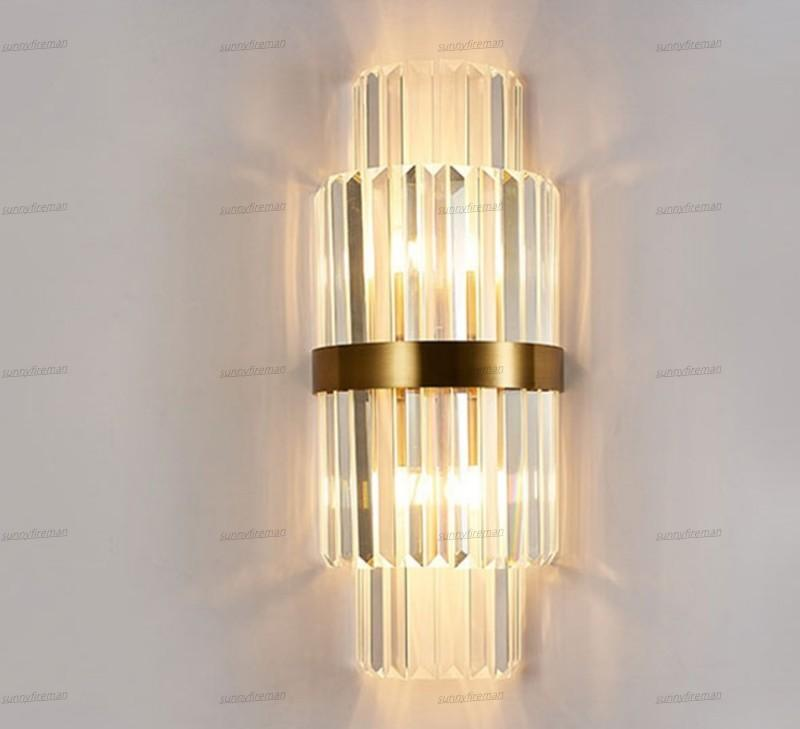 Modern Crystal Gold Wall Lamps Bedside Loft Lights Led Bulb Home Decoration Lighting Fixtures Wall Sconce For Bedroom AC110-240V