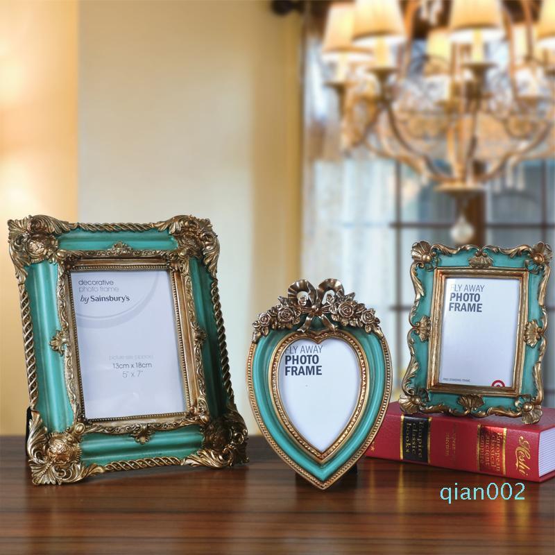 Baroque Antique Photo Frame Restore regalo dell'amico Frames Ornamenti creativo di stile del cuore Home Decor Soggiorno display
