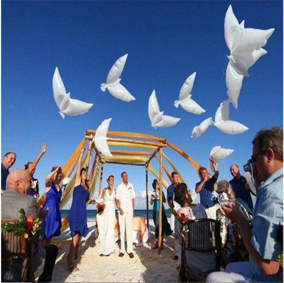 20pcs 104*54cm biodegradable Wedding Party decoration white dove orbs peace bird pigeons marriage helium balloon