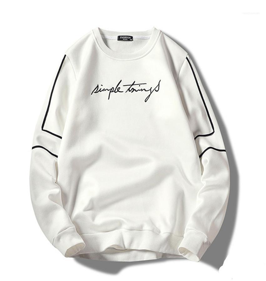 Sweats à capuche broderie Hommes Pull à manches longues encolure ras du cou pour hommes Sweatshirts Printemps Automne Hauts Casual Male Lettres