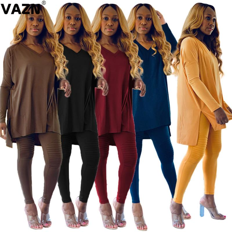 VAZN 2020 Autumn High Quality Lazy Free Soft Young Casual Solid Full Sleeve Top Long Pants Tracksuits Slim Women 2 Piece Set