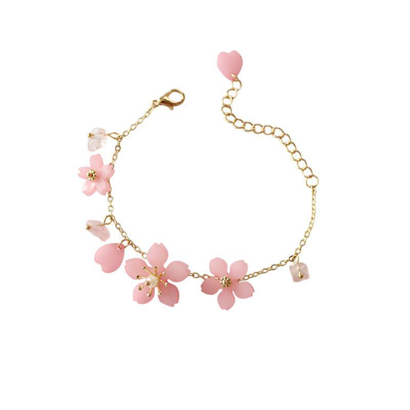 Rosa Kirschblüten-Armband Sakura Pearl Gold Link-Bangel Kleine Reines frisches Heartly Süße Armband Geschenke Mädchen Kind Schmuck