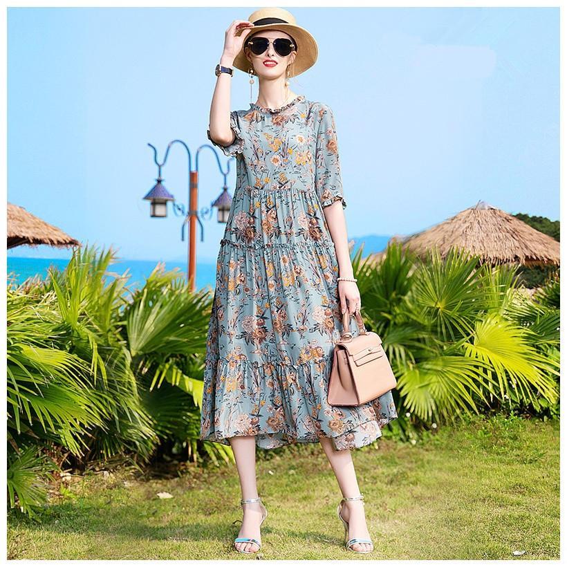 Лето 2020 новый Ханчжоу подлинный шелк крепдешин длинные свободные платья цветочные шелковицы платье mZik1