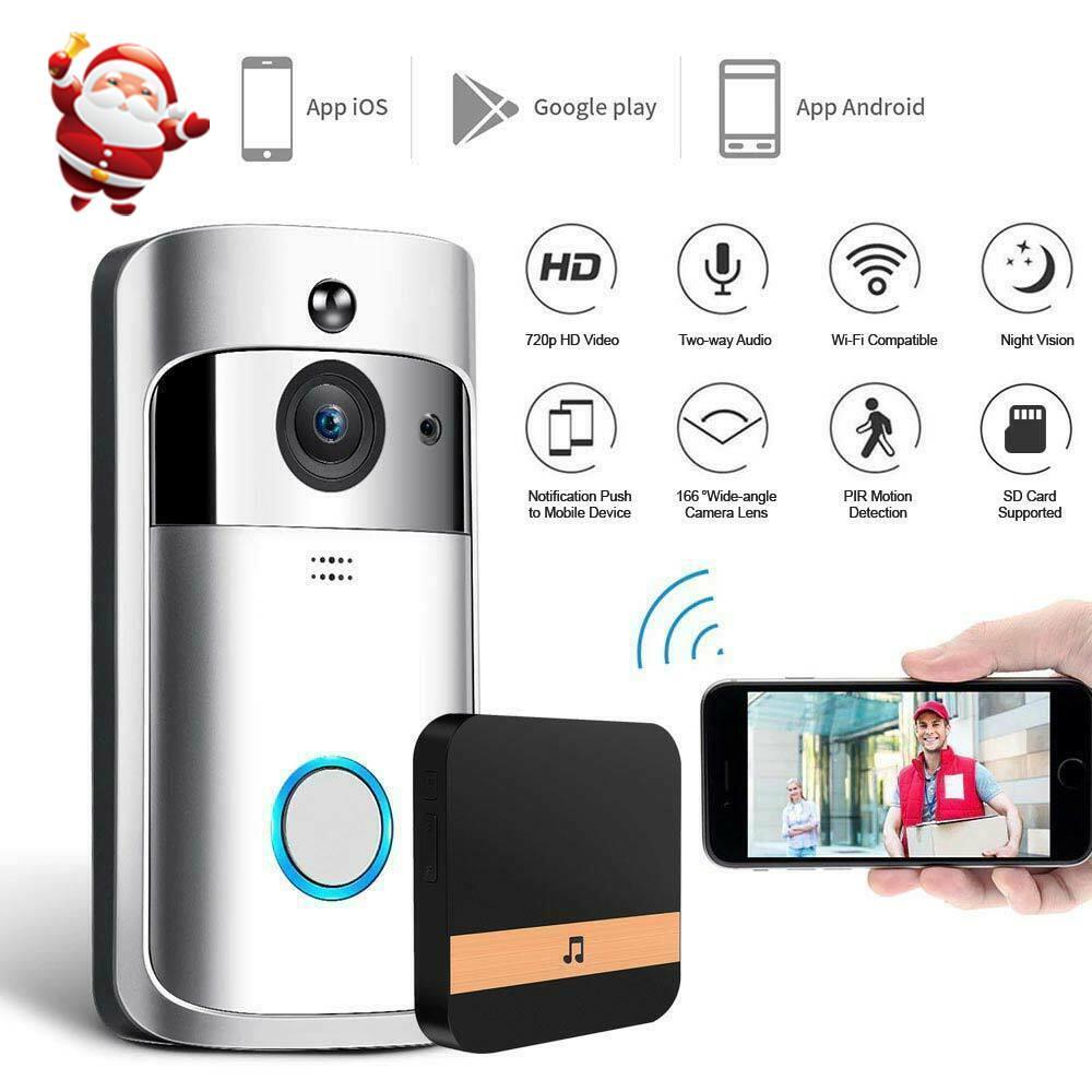 2020 más nuevo de la cámara de WiFi de vídeo HD timbre de la puerta de seguridad inalámbrica con detección de movimiento PIR impermeable para timbres IOS Android Teléfono de control APP