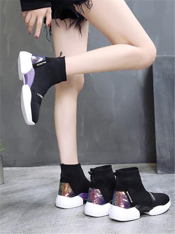 Primavera y verano nueva versátil tramo tejer zapatos de la parte superior