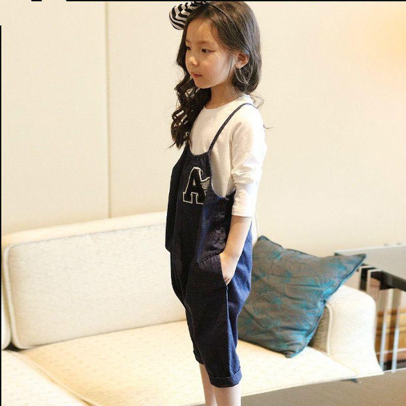 Bebé 3-10 Casual Edad de los niños del algodón de mezclilla general de los niños Denim Volver pantalones de oruga de primavera de chica
