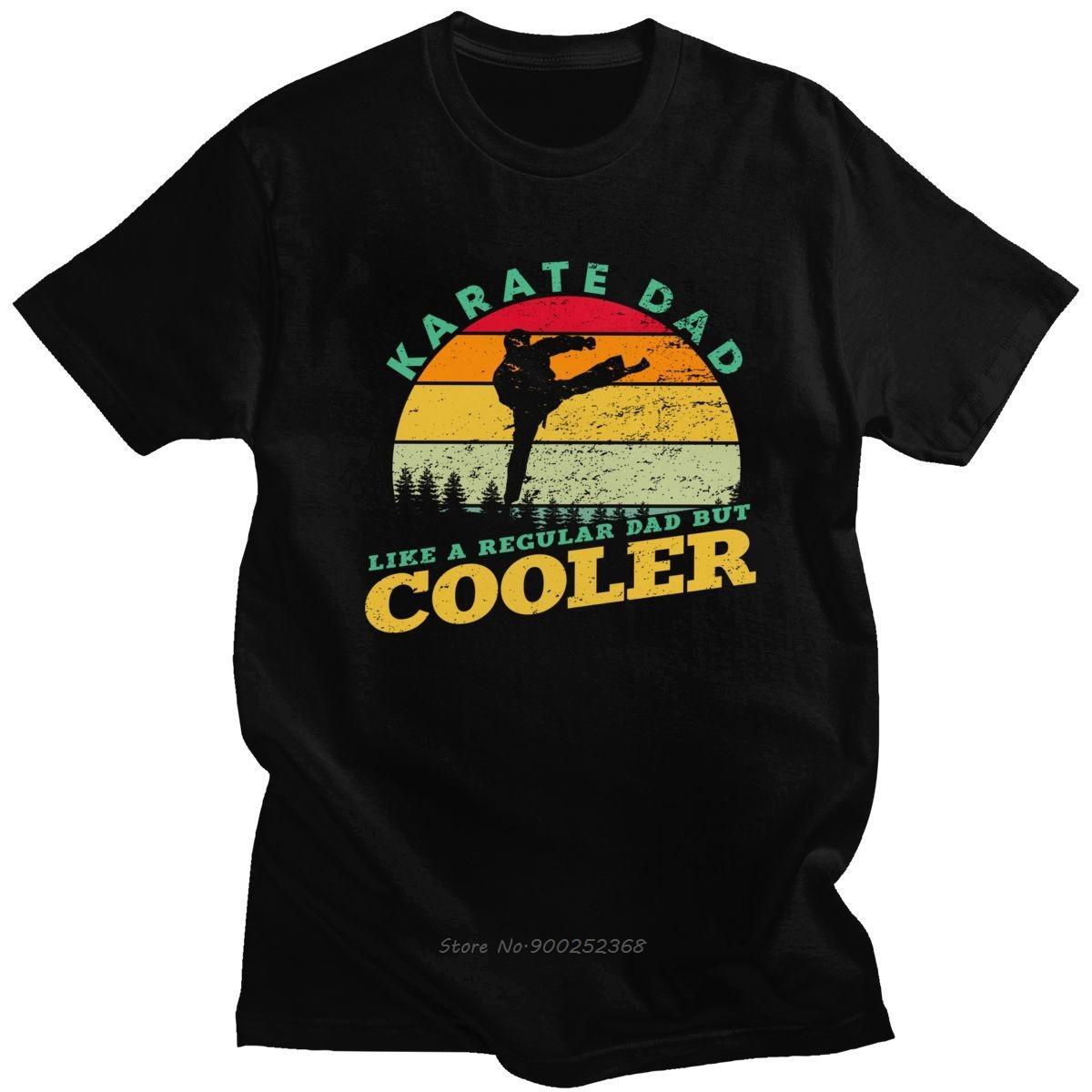 Dövüş sanatı Baskı Vintage Karate Baba Tişört Erkekler Kısa Kollu Pamuk T-Shirt Retro karateci Tee Gömlek Harajuku Hediye Tops