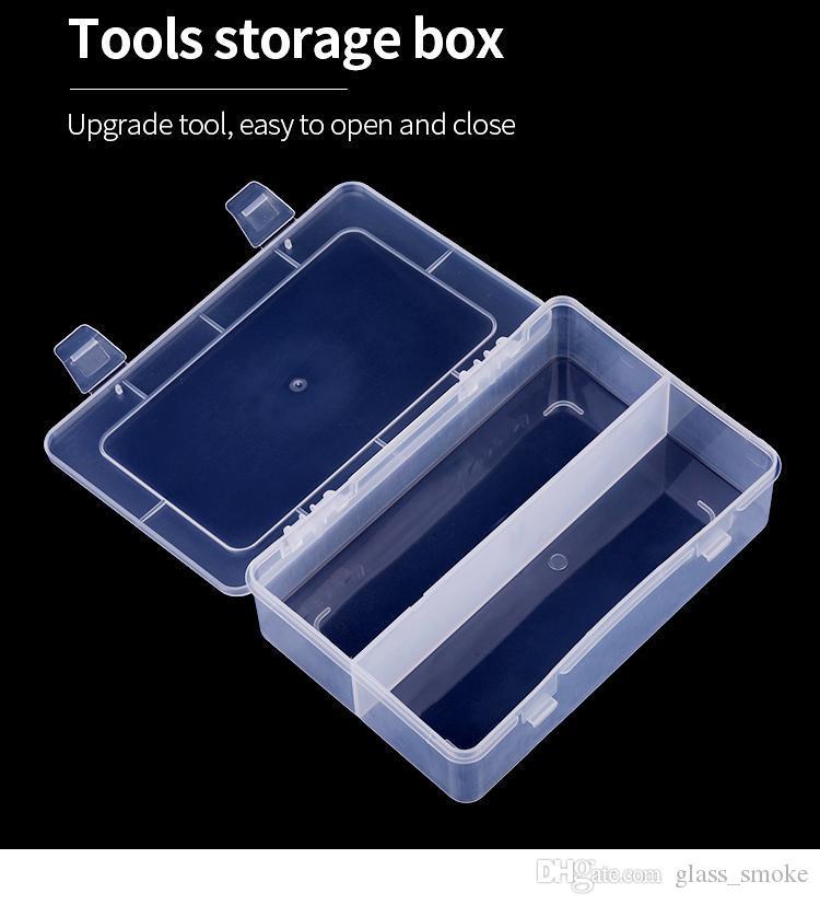 Новый 18 * 12см Nail Art прямоугольник прозрачный пластиковый ящик для хранения ногтя Ставить точки рисования кисть Полировка губки буфера Контейнер Case