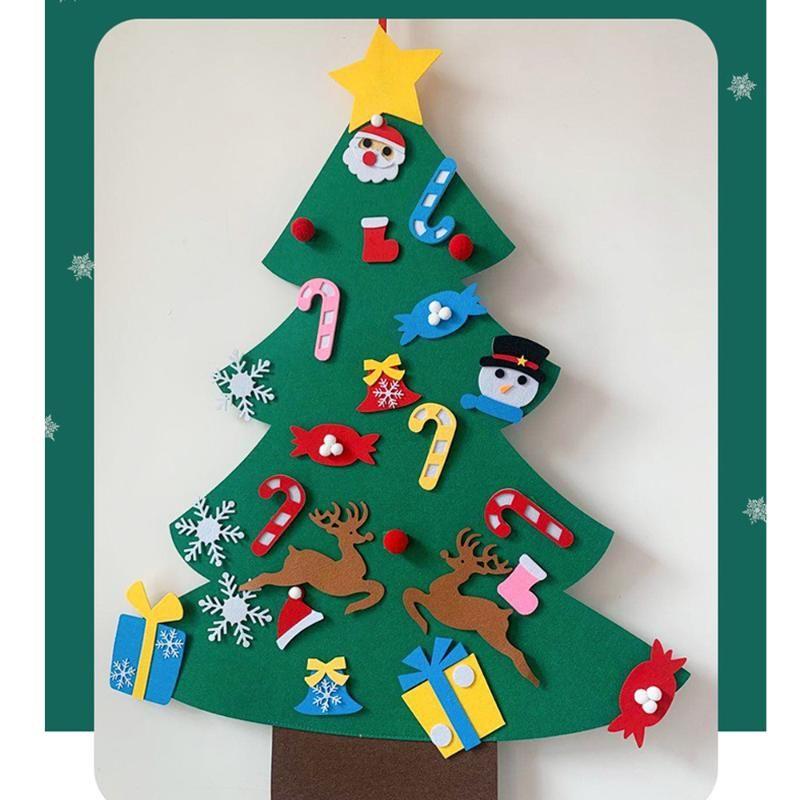 3ft / 91 centimetri fai da te feltro Albero di Natale in feltro Set di natale decorazioni murali Hanging 32 accessori per la casa ornamenti bambini dei regali del partito
