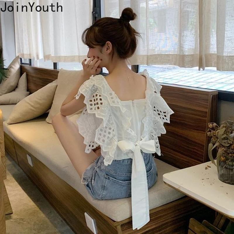 Joinyouth Sólidos la proa Blusas Mujer coreana de primavera y verano de 2020 mujeres ahuecan hacia fuera atractivo blusas de volantes dulces camisas corto J456 Y200828