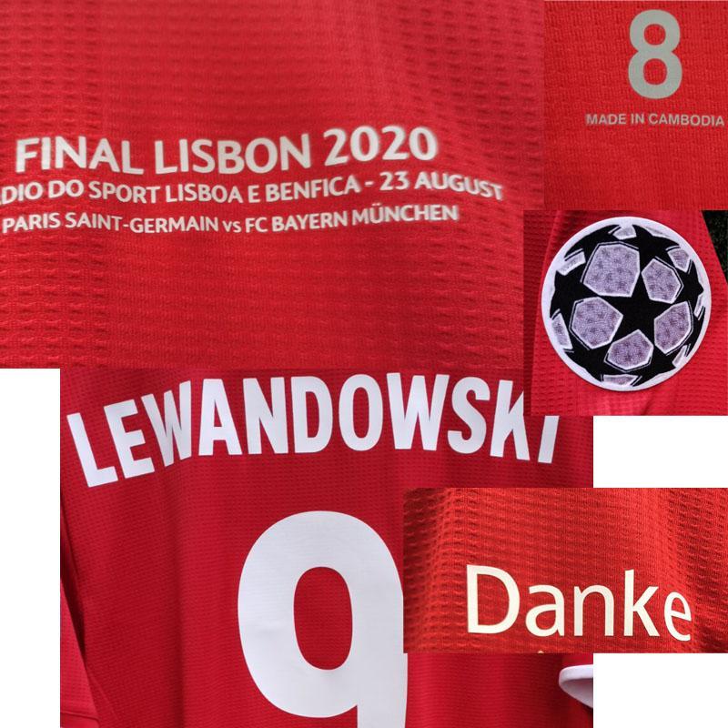 2020 Final Lisboa Maillot Camiseta Danke Match Worn Player Edição Tuta da Calcio Traje de Futbol Jersey