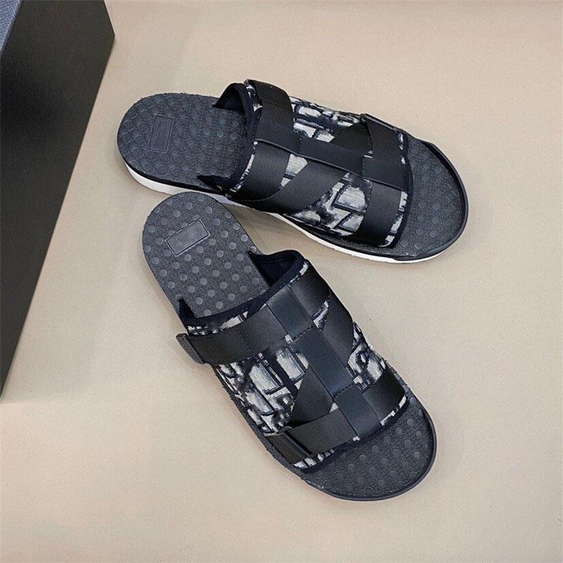 2020 Yeni Moda Erkekler Siyah Alfa Sandal Oblique Jakarlı Yaz Erkekler Terlik Naylon Bantlar Rahat Kauçuk Taban Bisikletleri Boyutu 38-45