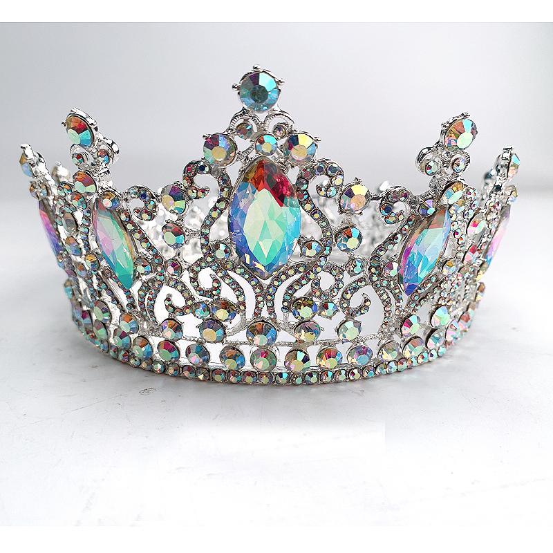 Joyería de la manera del color del AB Tiara Crowns princesa Crystal reina diadema nupcial Ronda corona para la boda Mujeres Accesorios para el cabello Y200807