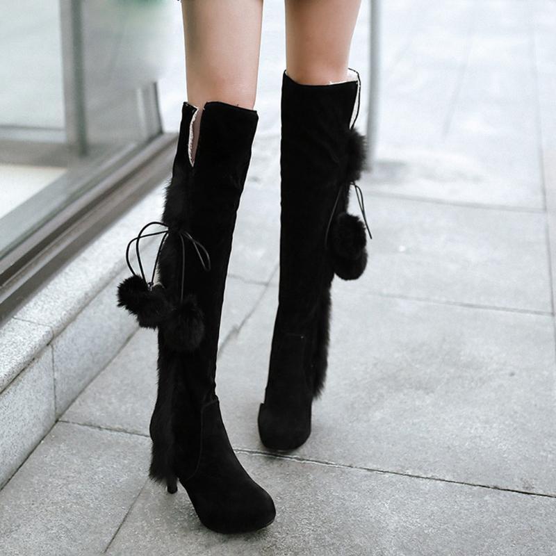zapatos de mujer sapatos mulher nova moda botas Moda Womens Pointed Toe Suede Lace-Up sapatos de salto alto manter aquecido botas longas