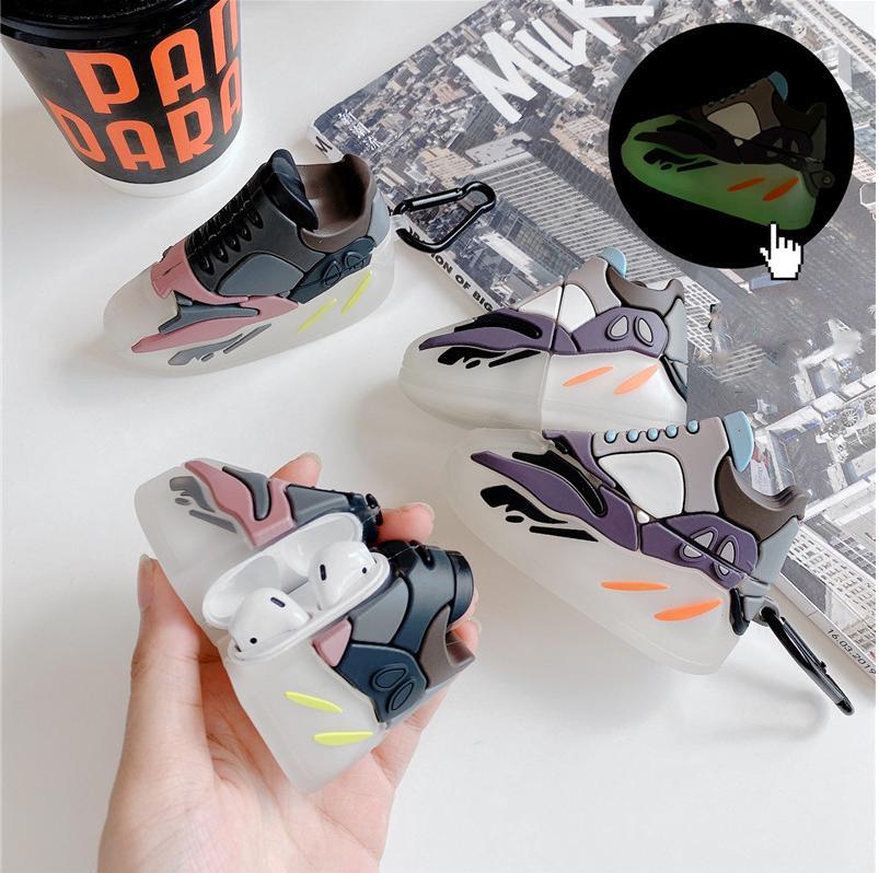 caso Luminous Bluetooth headset Silicon esportes de rua luxo 3D marca sneakers para a Apple airpods 1 2 pro tampa de carregamento sem fio