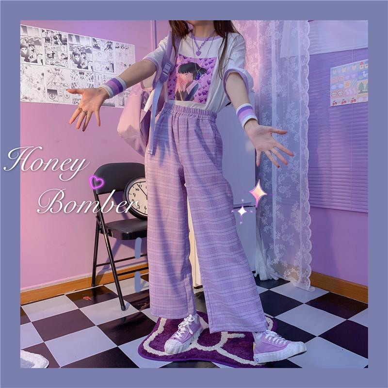 2020 New Autumn Purple Plaid Trousers Kawaii Loose Casual Pants Fashion Girl Lolita Girl Harajuku Mori College Style Women