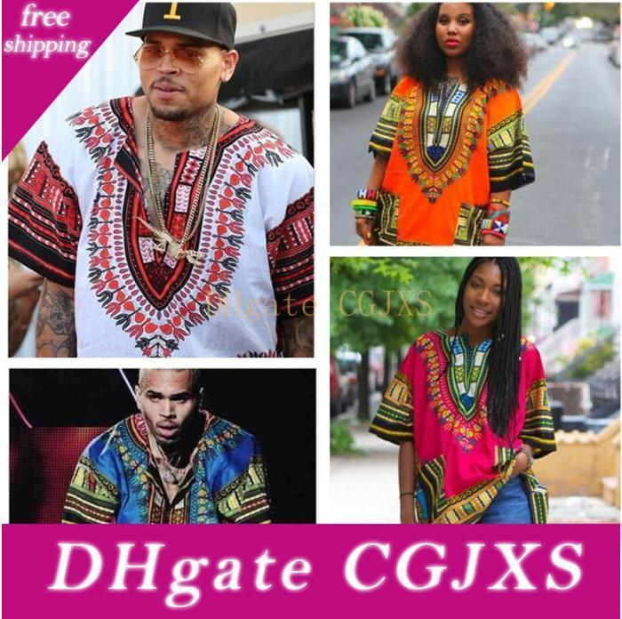 10pcs Africano Dashiki vestidos para as mulheres Vestuário Hippie shirt Caftan Unisex Vintage Tribal mexicana Top Bazin Riche Étnicas Vestuário M055